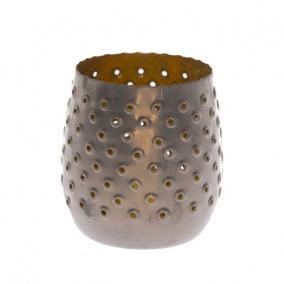 Mécsestartó fém 11cm x11cm x 10,5cm szürke/arany