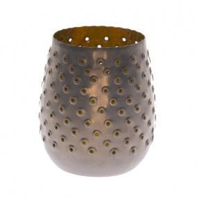 Mécsestartó fém 12cm x 12cm x 13cm szürke/arany