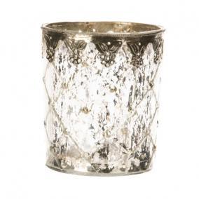 Mécsestartó fém virágos berakással üveg 13cm x13cm x15cm átlátszó,ezüst