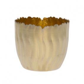 Mécsestartó hullámos fém 10cm x 10cm x 9cm arany/fényes arany