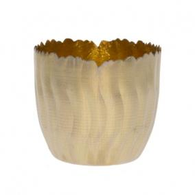 Mécsestartó hullámos fém 8cm x 8cm x 7cm arany/fényes arany