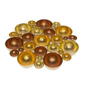 Mécsestartó kerek, asztali fém 40cm x 40cm x 4cm arany/pezsgő