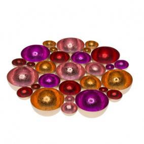 Mécsestartó kerek, asztali fém 40cm x 40cm x 4cm arany/piros,pink,rózsaszín,narancs