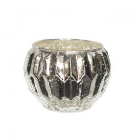 Mécsestartó kerek üveg 7,5 cm x 10 cm antik ezüst