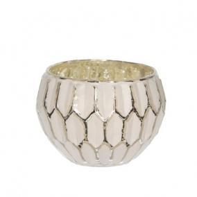 Mécsestartó kerek üveg 7,5 cm x 10 cm ezüst, fehér