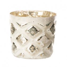 Mécsestartó kerek üveg 8cm x8cm x8cm fehér,ezüst