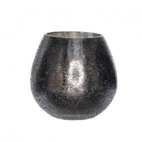 Mécsestartó kerek üveg 9,5 cm x 10 cm ezüst