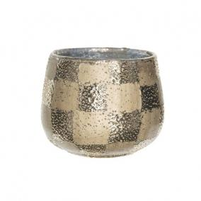 Mécsestartó mintás kerek üveg 12 cm x 9,5 cm arany
