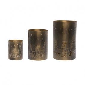 Mécsestartó szarvassal,fenyővel Iron 13x13x20,10x10x15,8x8x10cm rozsda/óarany [3 db]