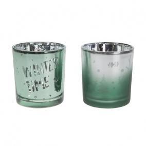 Mécsestartó üveg 8cm ezüst,zöld 2 féle