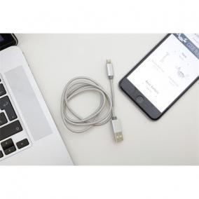 Micro USB és iPhone kábel egyben, USB csatlakozóval, 1 méter, ezüst