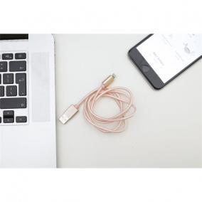 Micro USB és iPhone kábel egyben, USB csatlakozóval, 1 méter, rózsaszín