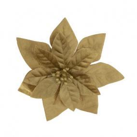 Mikulásvirág csipeszes textil 16 cm arany
