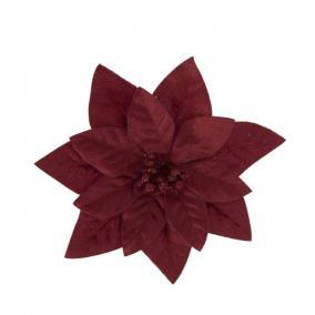 Mikulásvirág csipeszes textil 16 cm bordó