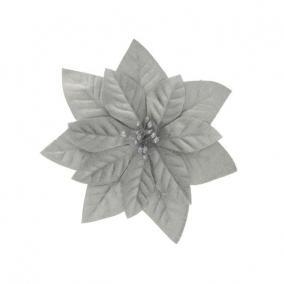 Mikulásvirág csipeszes textil 16 cm ezüst