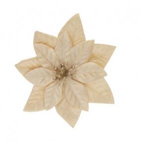 Mikulásvirág csipeszes textil 16 cm pezsgő
