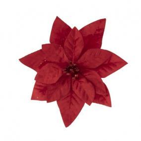 Mikulásvirág csipeszes textil 16 cm piros