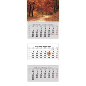 Naptár, speditőr, három hónapos, három tömbös, DAYLINER, erdő