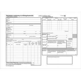 Nyomtatvány, kiküldetési utasítás és költségelszámolás , 25x2, A4, VICTORIA
