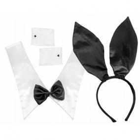 Nyuszi jelmez (hajráf, gallér, mandzsetta) műanyag, textil fekete [3 db]