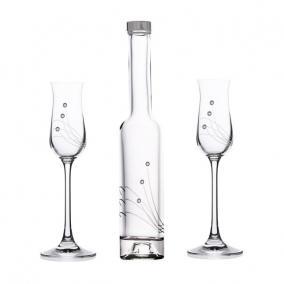 Pálinkás pohár+üveg swarovski dísszel üveg 70ml/200 ml [3 db]