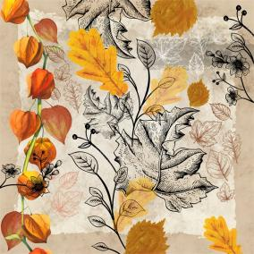 Papír Szalvéta 3 rétegű - Fallen Leaves 33x33cm narancssárga, natúr [20 db]