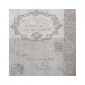 Papír Szalvéta 3 rétegű - Fiorentina Lettre szürkésbarna 33x33cm szürke [16 db]
