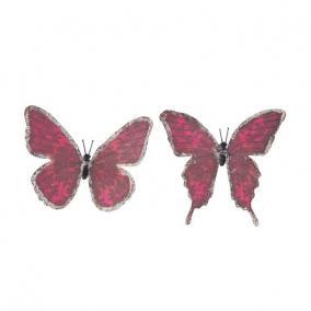 Pillangó csipesszel glitteres papír 11 cm bordó [6 db]