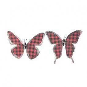 Pillangó csipesszel glitteres papír 11 cm piros kockás [6 db]