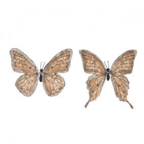 Pillangó csipesszel glitteres papír 11 cm sötét barna [6 db]