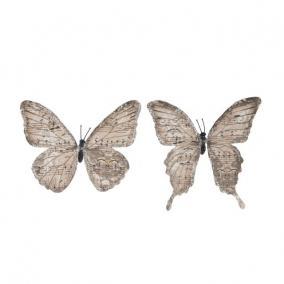 Pillangó csipesszel glitteres papír 11 cm világos barna [6 db]
