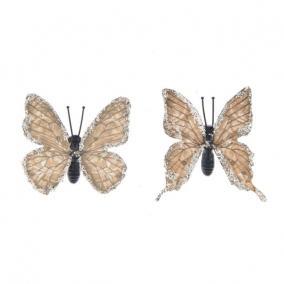 Pillangó csipesszel glitteres papír 5,5 cm barna [8 db]