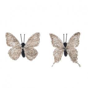 Pillangó csipesszel glitteres papír 5,5 cm világos barna [8 db]