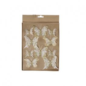 Pillangó csipeszes glitteres arany [10 db]
