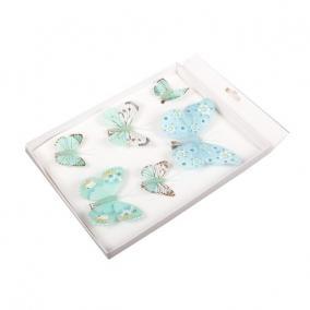 Pillangó csipeszes papír 3 ass. kék [6 db]