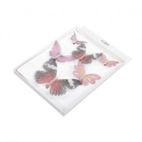 Pillangó csipeszes textil 5,8,12 cm rózsaszín [6 db]