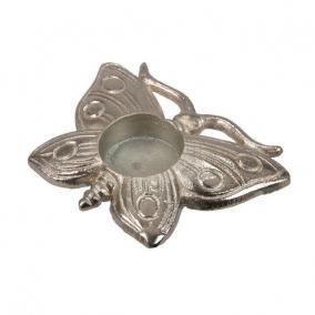 Pillangó mécsestartó alumínium 13cm x 9cm ezüst