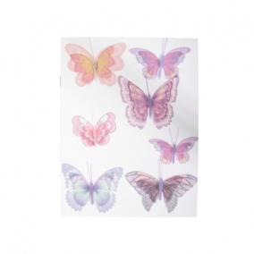 Pillangó öntapadós organza 6,8 cm lila [7 db]
