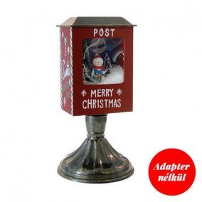 Postaláda világító,havazó,zenélő elektromos/elemes műanyag 19 cm x 19 cm x 37 cm mahagóni