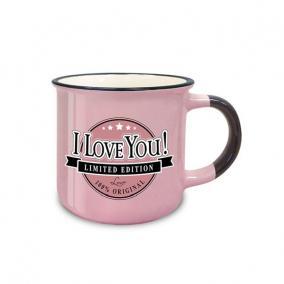 Retro bögre NHR I Love You! kerámia 3dl rózsaszín