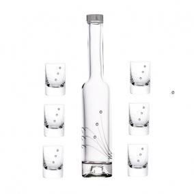 Röviditalos pohár + üveg swarovski díszítéssel üveg 30ml/200ml [7 db]