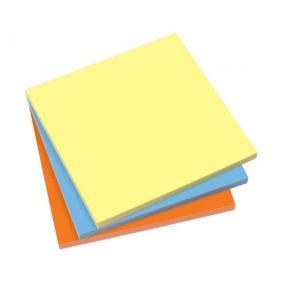 Öntapadó jegyzettömb, elektrosztatikus, 100x100 mm, 100 lap, SIGEL, 3 különböző szín [300 lap ]