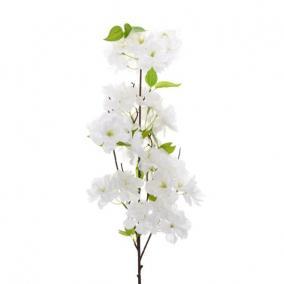 Selyemvirág Cseresznyevirág ága 100cm fehér