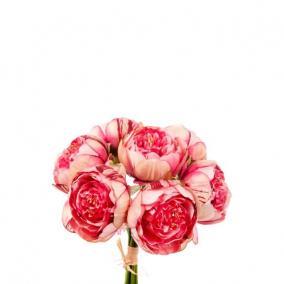 Selyemvirág Peonia csokor 7szálas 33cm rózsaszín,krém