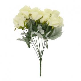 Selyemvirág Rózsa csokor 12 szálas 51 cm krém