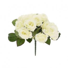 Selyemvirág Rózsa csokor 25 cm fehér