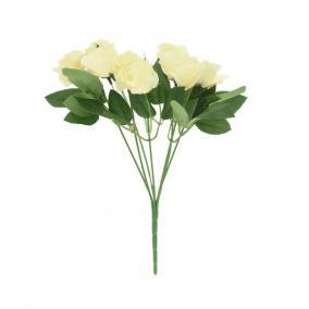 Selyemvirág Rózsa csokor 74 cm fehér