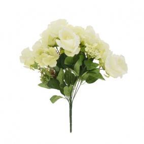 Selyemvirág Rózsa csokor hortenziával 12 szálas 49 cm fehér