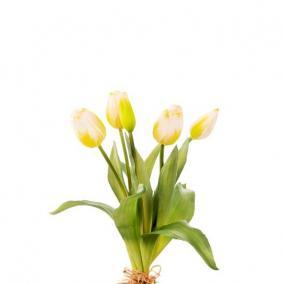 Selyemvirág Tulipán csokor műanyag 35cm fehér