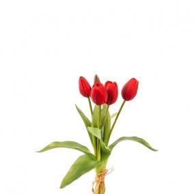 Selyemvirág Tulipán csokor műanyag 35cm piros
